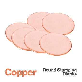 Round Copper Metal Stamping Jewellery Blanks x6, 1mm Thick