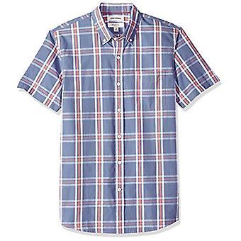 Goodthreads Men's Slim-Fit Short-Sleeve Plaid Poplin Shirt, -denim multi plai...