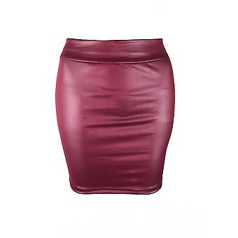 Womens High Waist Wet Look Faux Leather Pencil Mini Skirt