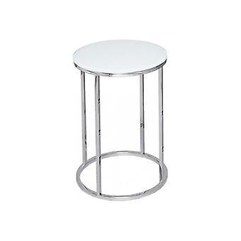 Gillmore Wit Glas en Zilver metaal Eigentijdse Ronde Zijtafel