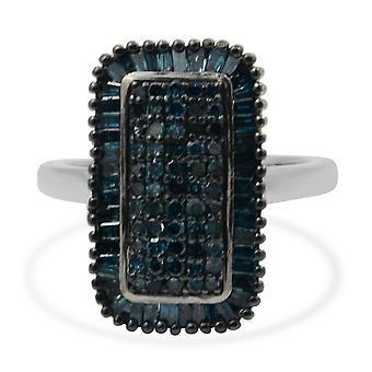 Blue Diamond Cluster Ring Kvinder Sterling Sølv Platinum Belagt , 1 Ct TJC
