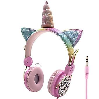 Cute Unicorn Wired Headphone With Microphone - Music Stereo Earphone Computer,
