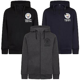 Manchester City FC Official Football Gift Mens Fleece Zip Hoody