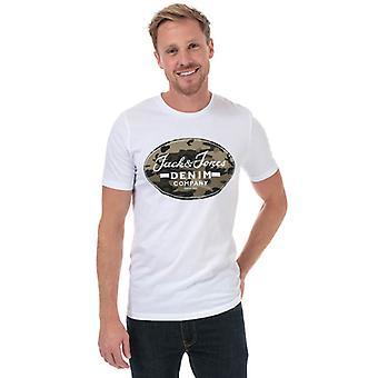 Män's Jack Jones Camo Man T-shirt i vitt