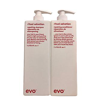 evo Ritual Salvation Herstellen shampoo & conditioner set 33.8 OZ elk