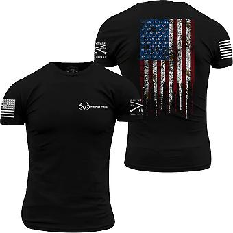 Grunt Style Realtree AP Snow - Hunting Flag T-Shirt - Black
