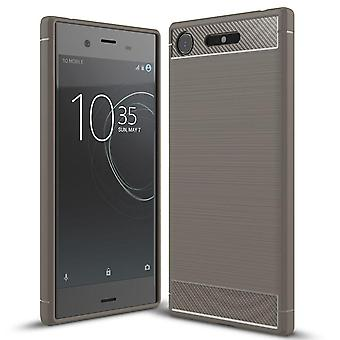 Single-Colored Carbon Fiber Shell for Sony Xperia XZ1 Shockproof Phone Mobile Matte Rubber