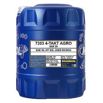 Mannol 20L 4-Takt Agro SAE 30 4 temps Moteur Huile API SG Jaso MA/MA2