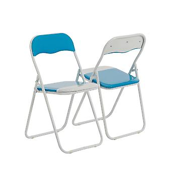Baby Blue / White Padded, Folding, Desk Chair - Pack of 4