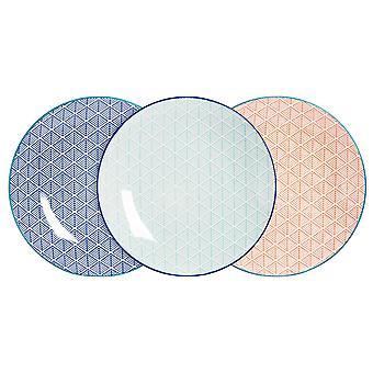 Nicola Spring 6 Piece Geometric Patterned Dinner Plate Set - Large Porcelain Dining Plates - 3 Colours - 26.5cm