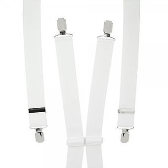 Ties Planet Plain White Men's Trouser Braces - Clip d'argento