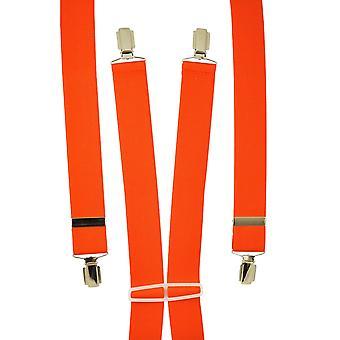 Krawatten Planet Plain Orange Men's Hosenträger - Silber Clips