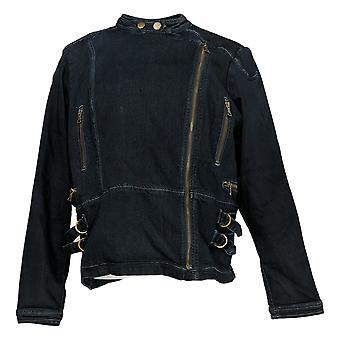 Laurie Felt Women's Silky Denim Motorcycle Zip Front Jacket Blue A380483