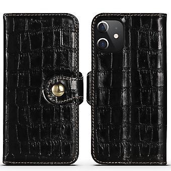 IPhone 12 mini Kotelo aito nahka krokotiili rakenne lompakko kansi musta