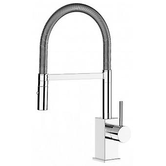 Kitchen Single-lever Sink Mixer With Spring Movable Spout And 2 Jets Shower - Low Version 43,7 Cm - 558