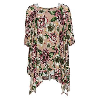 Nina Leonard Women's Plus Top Jersey Printed Layered Tunic Pink 685-894