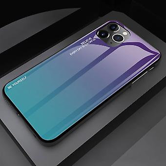 Stoff zertifiziert® iPhone 11 Pro Max Case Gradient - TPU und 9H Glas - stoßfest glänzende Fall Abdeckung Cas TPU Blau