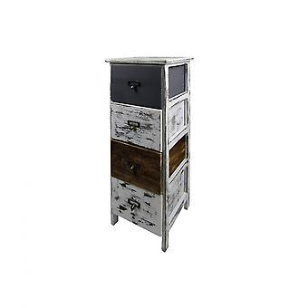 Rebecca Möbel Kommode 4 Schubladen Holz Retro weiß grau braun 74x28x28
