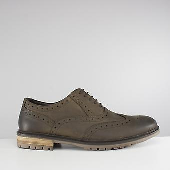 Silver Street London Central Mens Leather Brogue Shoes Olive