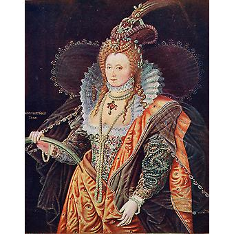Elizabeth I 1533-1603 Queen Of England From The Painting By Zucchero At Hatfield House PosterPrint