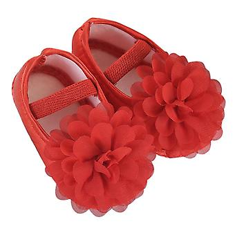 Baby Chiffon Flower Solid Elastic Band Newborn Walking Shoes Anti-slip Design