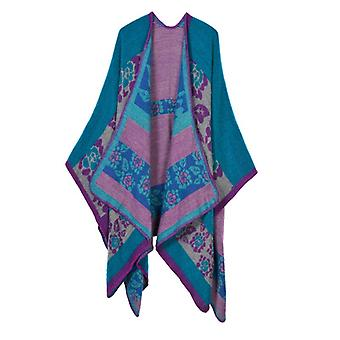 Women's Autumn And Winter Plus Size Flowers Cyan Warm Scarf Blanket Shawl