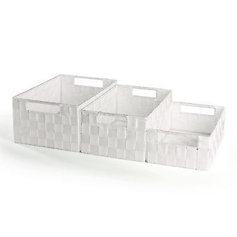 Nylon Storage Baskets 3 Pack - Large, Medium & Small | Pukkr White