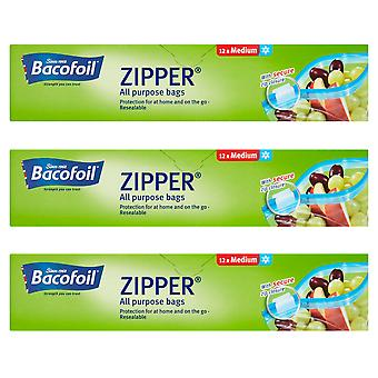 3 x 12 Medium Zip Bags 27x24cm Food All Purpose Lunch Fridge Freezer Home Storage
