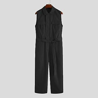 Men Cargo Overalls Lapel Sleeveless Jumpsuit, Joggers Solid Pants With Belt,