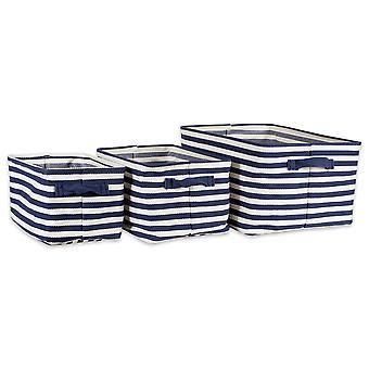 Dii Pe-Coated Spina di Pesce Tessuto Cotone Cotone Lavanderia Bin Stripe Francese Rettangolo Blu Assorted (Set Di 3)