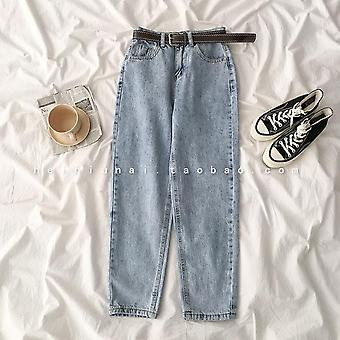 Straight High Waist Jeans, Mom Street Denim With Belt, Loose Plus Size