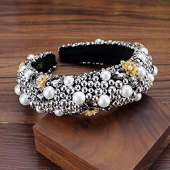 Plná Krištáľová perla Baroková polstrovaná drahokamu Princess Headband