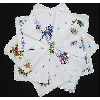 White Lace Printed Women Square Handkerchief Ladies Hanky Towel Wedding Party
