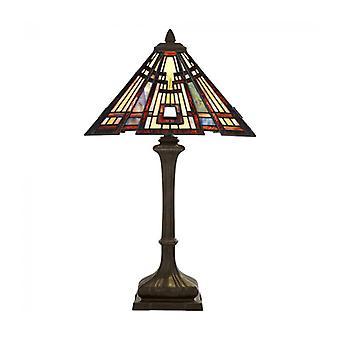 Lámpara Craftsman Clásica, Bronce Y Vidrio Tiffany.