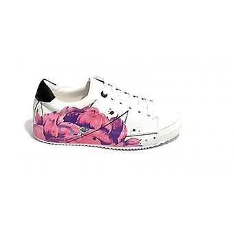 Sneaker Hope Mod. Botan Leather Tassel White Color/ Flower Print Woman Ds19ho01