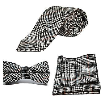 &Musta& Valkoinen Dogtooth Check Tweed Tie, Bow Tie & Pocket Square -setti