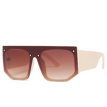 Zonnebril unisex brede bogen elastisch materiaal in roze en bruin