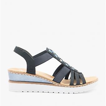Rieker V3822 Ladies Kile hæl sandaler Blå