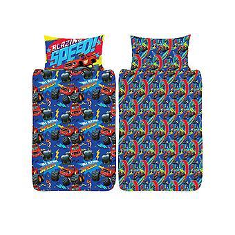 Blaze Blazing 4 in 1 Junior Bedding Bundle Set (Duvet, Pillow and