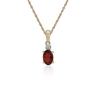 Classic Oval Garnet & Diamond Pendant Necklace in 9ct Yellow Gold 135P1644019