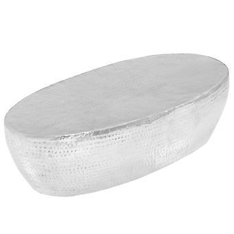 vidaXL طاولة القهوة الفضة طرقت 100 × 50 × 28 سم الألومنيوم