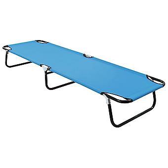 vidaXL Folding sun lounger steel turquoise blue