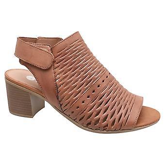 Remonte Brown Tan Leather Ankle Strap Laser Cut Detail Block Heel Sandal