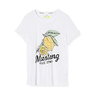 Mustang Alina C Print T-Shirt, Vit (Wei 2045), Liten Kvinna
