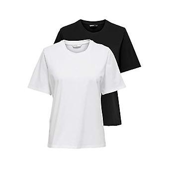 Vain ONLONLY Life S/S Top Noos 2 Pack T-paita, Musta/Pakkaus: Mustavalkoinen, M Nainen