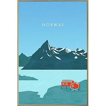 JUNIQE Print - Norwegia - Vintage Travel Plakat w kolorze niebieskim & turkusowym