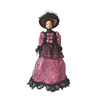 Puppen Haus viktorianischen Dame In lila Kleid & Hut Porzellan Frau 1:12 Menschen