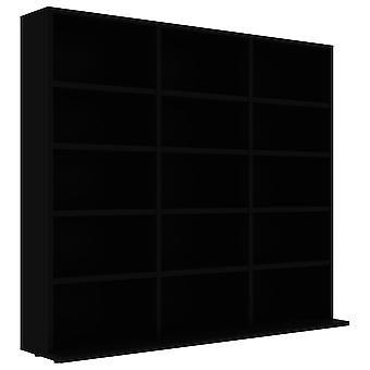 vidaXL CD shelf Black 102x23x89.5 cm chipboard