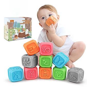 Vauvan tarttuminen Pehmeät rakennuspalikat Pehmeä Käsipallo Lapset Hieronta Kumi Purista Lelu