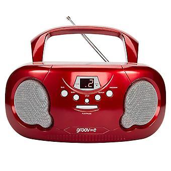 Groov-e GVPS733RD Original Boombox Tragbarer CD-Player mit Radio Red UK Stecker